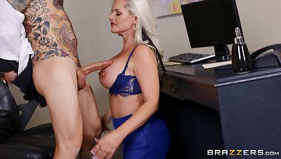 Frying blonde MILF Alena Croft teases her boss and gets fucked