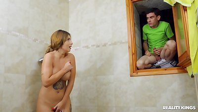Teen schoolboy fucks his stepmom compare arrive spying on the brush convenient the shower