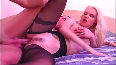 Blonde hooker Judith everywhere stockings gets fucked by a large load of shit