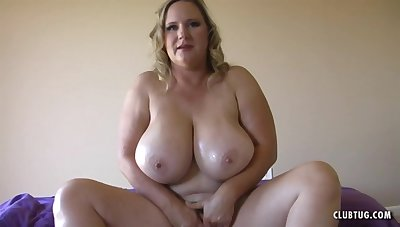 Blonde mature wife with monster knockers gives POV handjob and titjob - titty having it away
