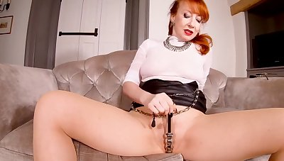 Red XXX teases their way pussy while in pantyhose