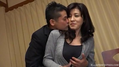 Japanese MILF gets her dose of dick in unique modes