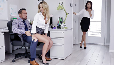 Manager have a go three-way intercourse with workers