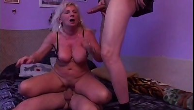 Dirty mature chick Anna A gets fucked hard by two younger dudes