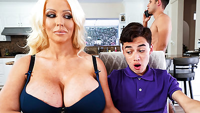 Well-endowed stepmom interested to taste schoolboy's unearth