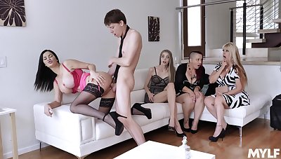 Young lad fucks these horny wives then cums not susceptible their bosom