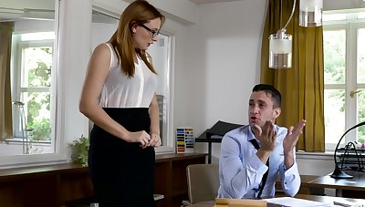 Man's large dong suits the secretary with the best fucking