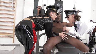 MILF latex porn in interracial scenes with obedient be ahead of slave