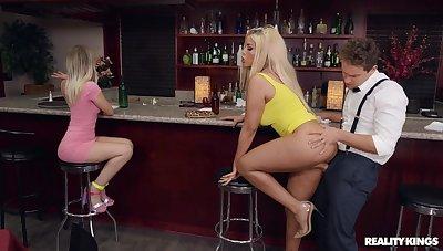 Intrepid blonde darling Bridgette B.'s hardcore boning in a bar