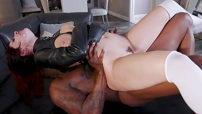 Sensual women try the black monster in a undiluted fetish play