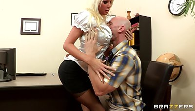 Sex on the office table down blonde boss Holly Price in stockings