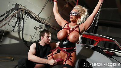Delimit cock slut Alura Jenson is toyed with by a stranger in a dungeon