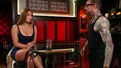 Affianced increased by suspended babe Skylar Cat's-paw gets double penetrated