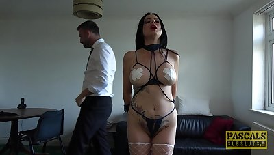 Slutty brunette wife Damaris tied up and fucked all about in all about be worthwhile for the brush holes