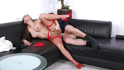 Mea Melone takes the bone while wearing sexy peppery fishnets
