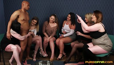Serious blowjob and hard drilling role of over a bunch of dicks