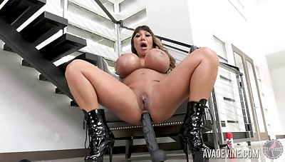 Giant breasted harlot Ava Devine loves teasing herself sisterly