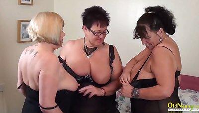 OldNannY Auntie Trisha Threesome Lesbian Party Masturbation