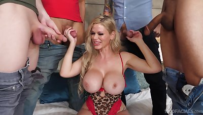 Cougar with insane jugs, gangbang and rivers of cum to flood those lips