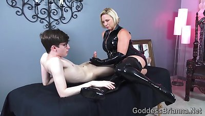 Latex Handjob - Jig Guy and Kinky Mistress