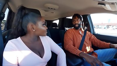 Married Ebony with pigtail and big boobs fucked in chum around with annoy restroom