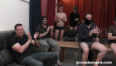 Hardcore gangbang fumbling with lots of cum for a peaches slut. HD
